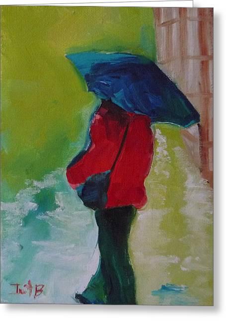 First Rain Greeting Card by Irit Bourla