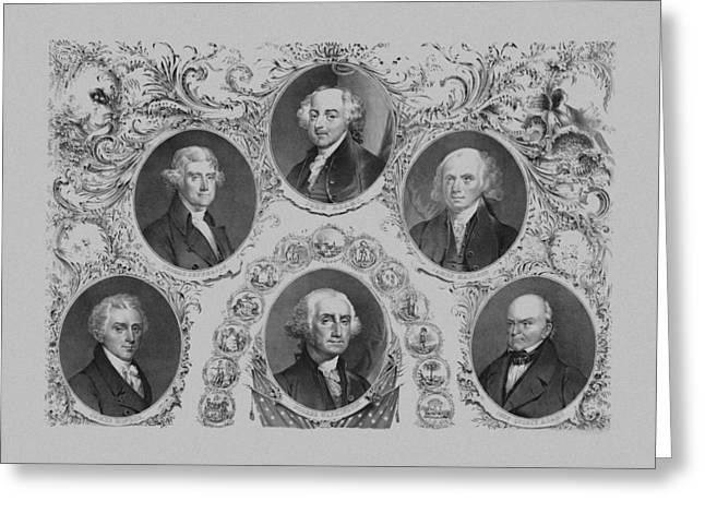 First Six U.s. Presidents Greeting Card