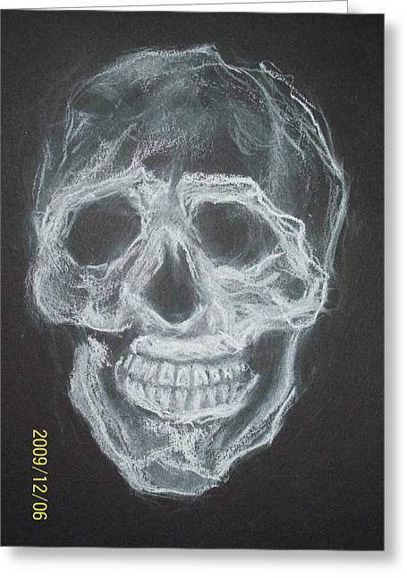 First Skull Work Greeting Card by Nancy  Caccioppo