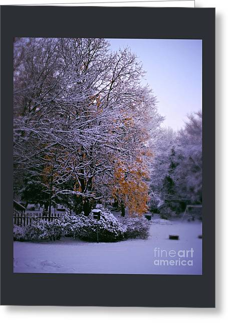 First Snow After Autumn Greeting Card