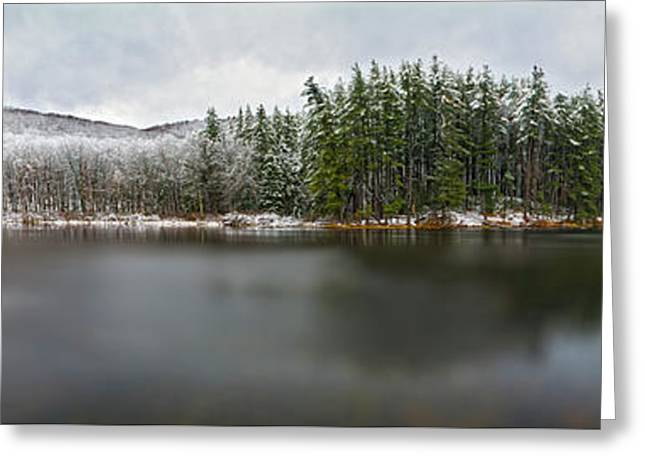 First Snow At Lake Nawahunta Greeting Card by Angelo Marcialis