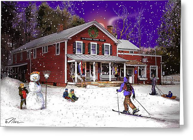 Vermont Country Store Greeting Cards - First Snow at The South Woodstock Country Store Greeting Card by Nancy Griswold