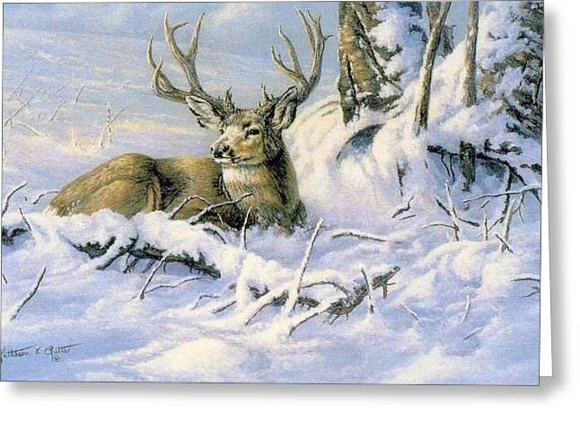 First Snow Greeting Card by Kathleen  V  Butts