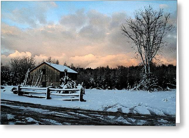 First Snow Greeting Card by Linda Joyce Ott