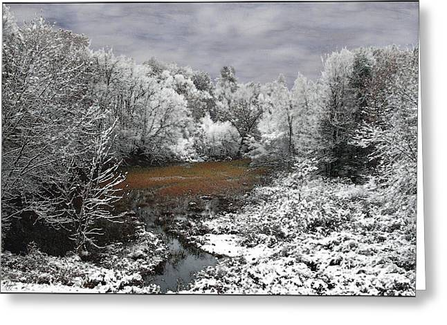 First Snow On An Oxbow Greeting Card