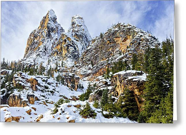 Greeting Card featuring the photograph First Snow On Liberty Bell Horizontal by Mary Jo Allen