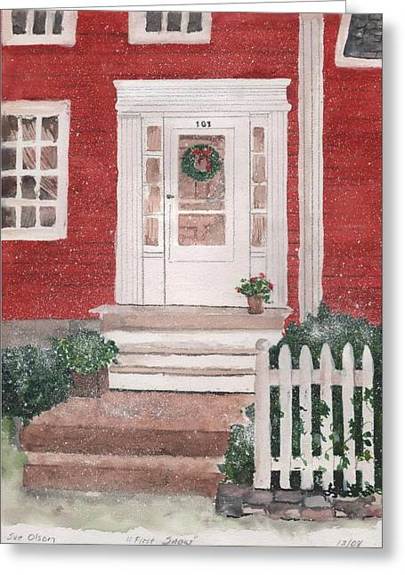 First Snow Greeting Card by Sue Olson