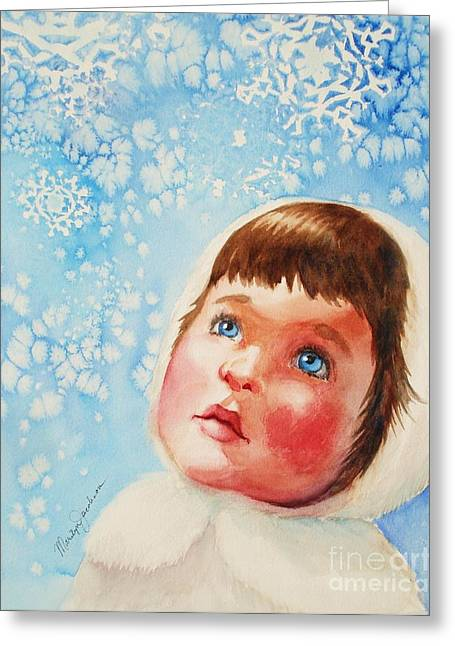 Greeting Card featuring the painting First Snowfall by Marilyn Jacobson