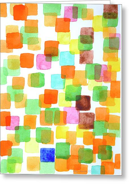 First Squares Pattern Greeting Card by Heidi Capitaine