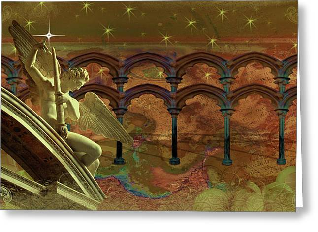 Greeting Card featuring the digital art First Star by Louise Roach