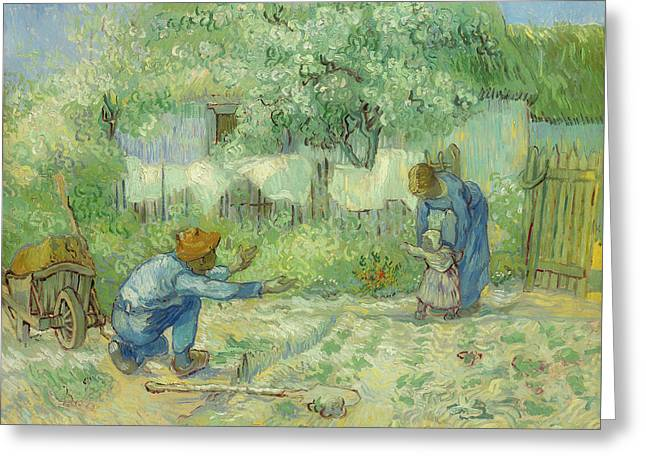First Steps After Millet                                         Greeting Card by Vincent Van Gogh