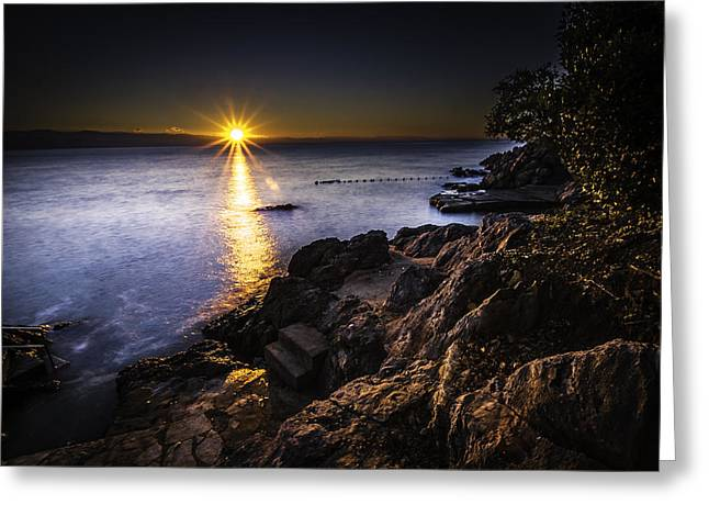 First Rays Over The Adriatic Greeting Card