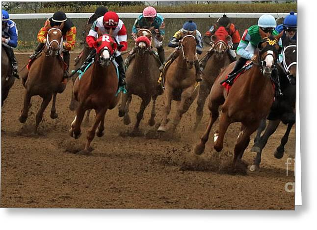 First Turn At Keeneland Greeting Card by Angela G