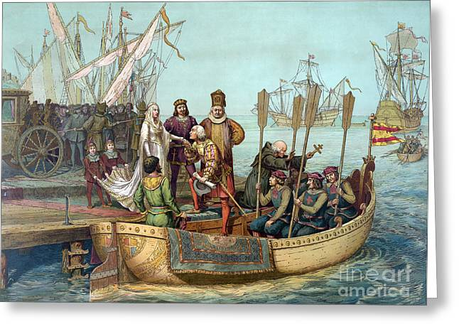 First Voyage Of Columbus, 1492 Greeting Card by Science Source