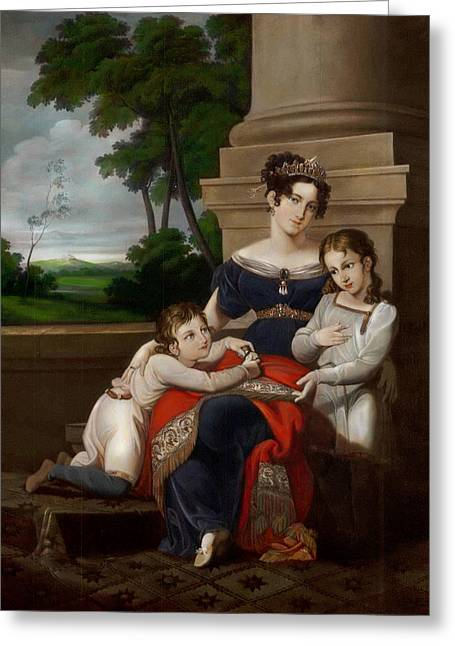 First Wife And First Duchess Of Saxe Coburg Gotha With Her Chldren Greeting Card