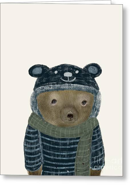 Greeting Card featuring the painting First Winter Bear by Bri B