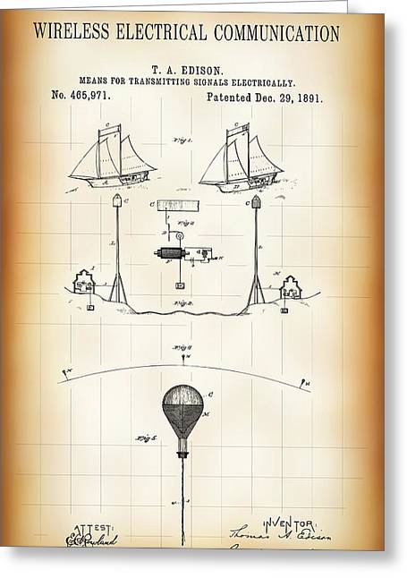 First Wireless Communication Network Patent  1891 Greeting Card