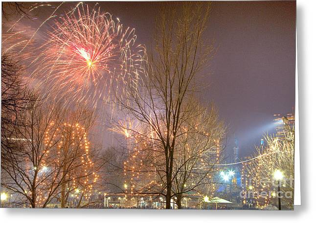 Greeting Card featuring the photograph Firstnight Fireworks by Susan Cole Kelly