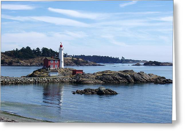 Greeting Card featuring the photograph Fisgard Lighthouse Shoreline by Marilyn Wilson