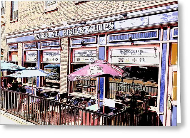 Fish And Chips Greeting Card by Greg Joens