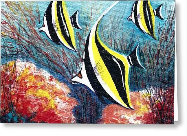 Moorish Idol Fish And Coral Reef Greeting Card