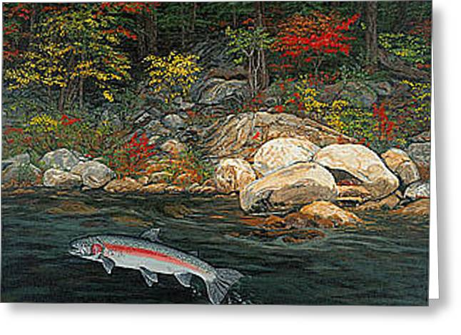 Fish Art Jumping Silver Steelhead Trout Art Nature Artwork Giclee Wildlife Underwater Wall Art Work Greeting Card by Baslee Troutman
