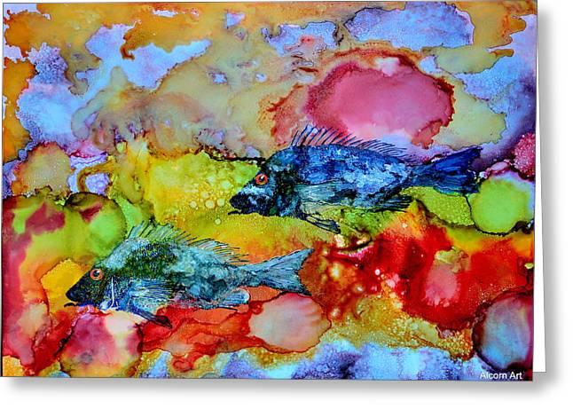 Fish At Sunset Greeting Card by Brenda Alcorn