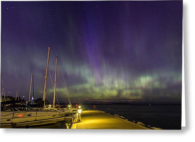 Greeting Card featuring the photograph Fish Creek Marina Northern Lights by Paul Schultz