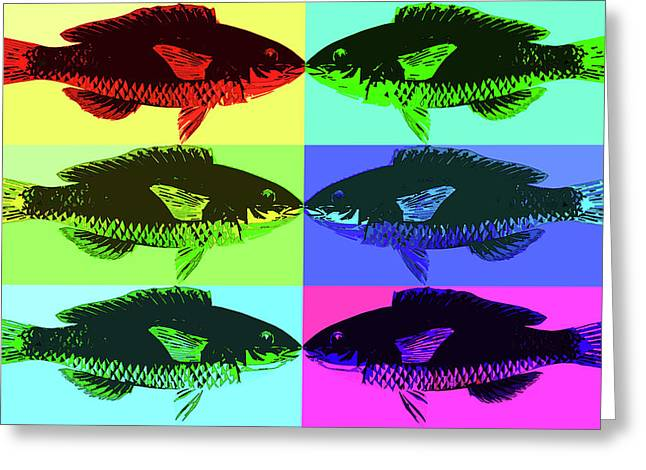 Greeting Card featuring the digital art Fish Dinner Pop Art by Nancy Merkle