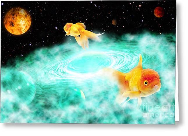 Greeting Card featuring the digital art Zen Fish Dream by Olga Hamilton