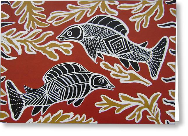 Fish Dreamin Greeting Card by Laura Johnson