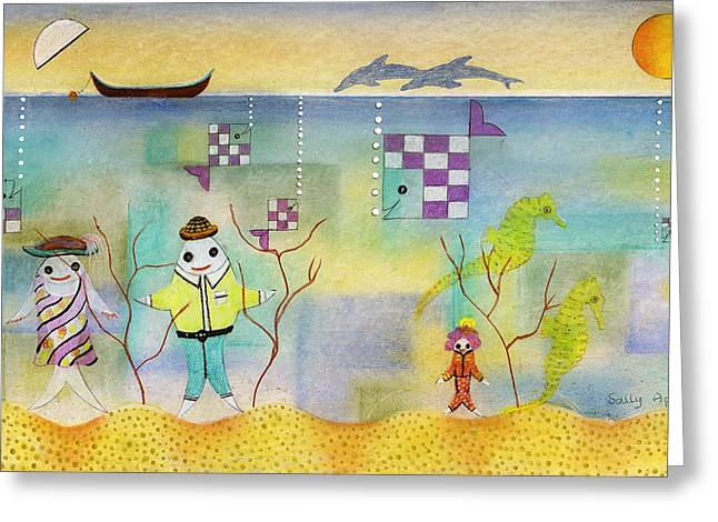 Fish Family Greeting Card by Sally Appleby