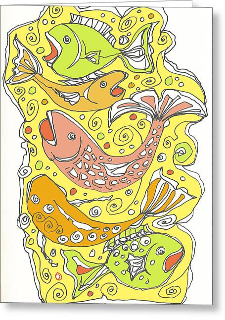 Fish Fish Greeting Card by Linda Kay Thomas