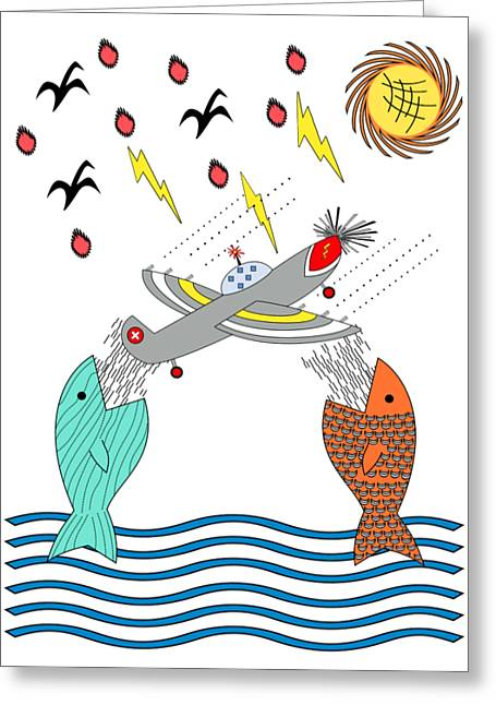 Fish Food Greeting Card by Methune Hively