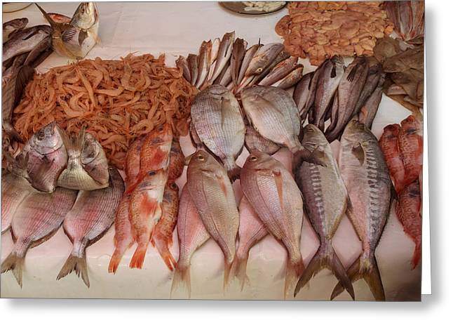 Fish For Sale In Market At Essaouira Greeting Card by Panoramic Images