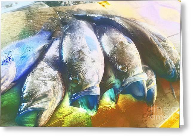 Fish Fry At The Lake - Abstract Greeting Card by Scott D Van Osdol