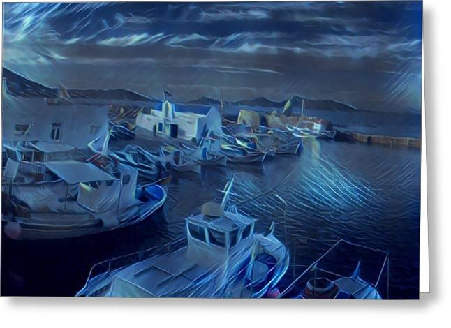 Fish Harbour Paros Island Greece Greeting Card