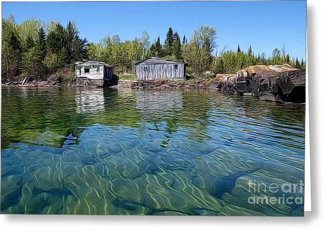 Fish House Reflections On Lake Superior Greeting Card by Sandra Updyke