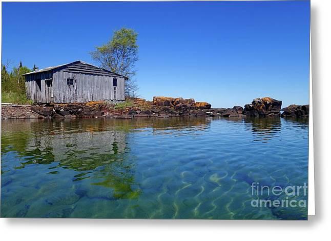 Fish House Reflections Greeting Card by Sandra Updyke