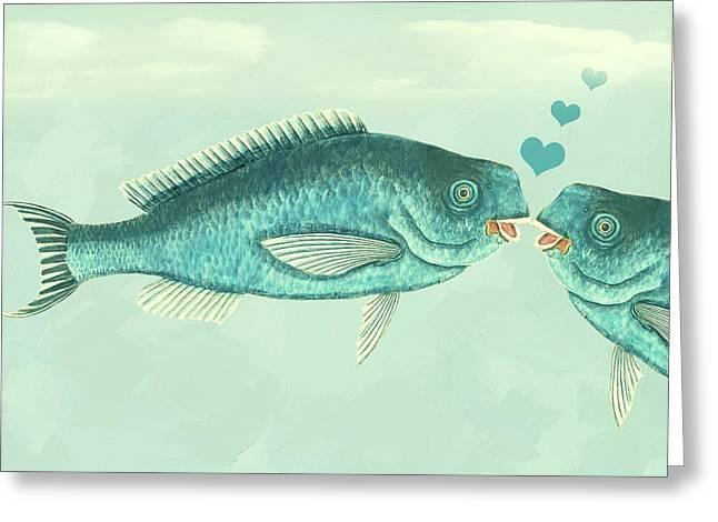 Fish Love Whimsical Wall Art Greeting Card