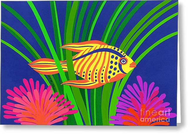 Reef Fish Drawings Greeting Cards - Fish Greeting Card by Lucyna A M Green