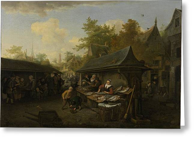 Fish Market, 1683 Greeting Card by Cornelis Dusart