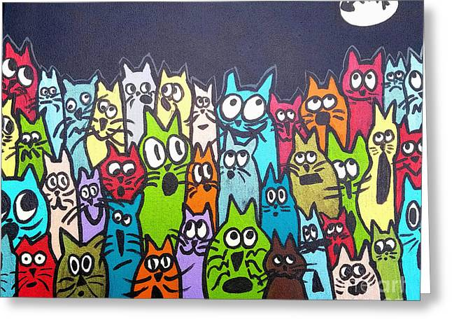 Fish Moon Cats Greeting Card