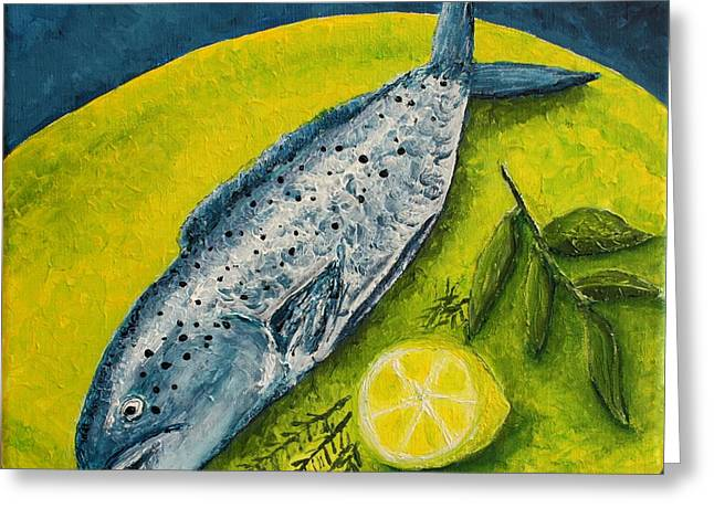 Fish On A Plate Greeting Card by Andrea Meyer
