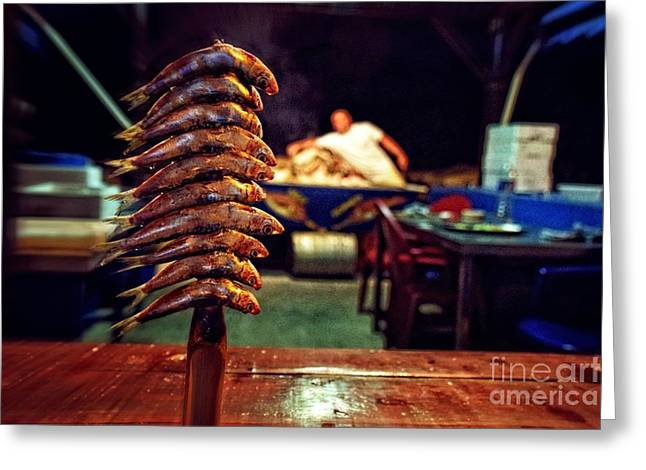 Fish On A Stick - East Malaga Greeting Card by Mary Machare