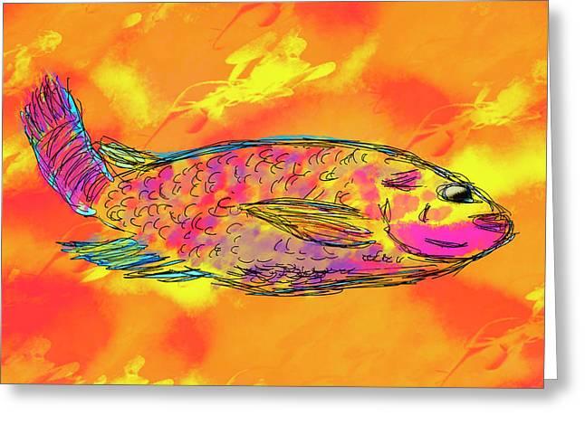 Fish On Orange Greeting Card by Skip Nall