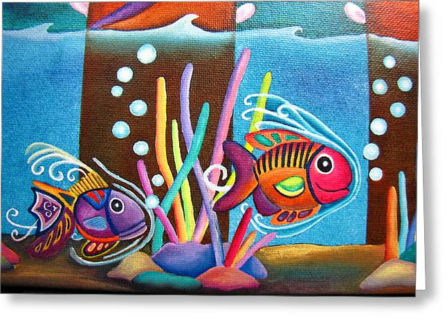 Fish On Parade Two Greeting Card by Lori Miller