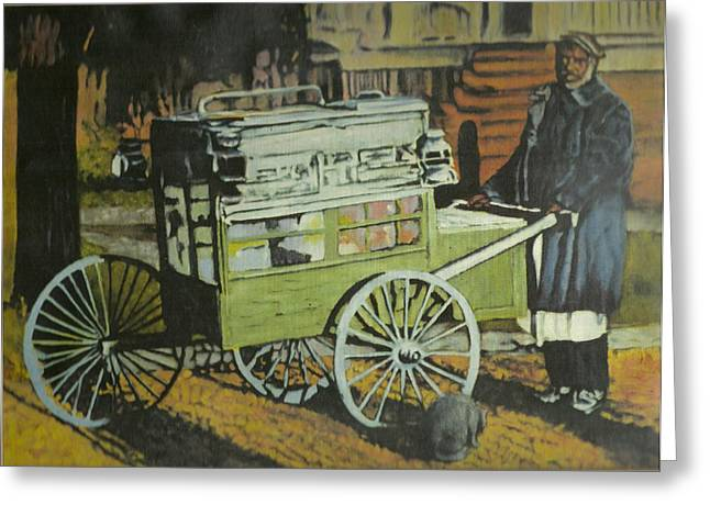 Fish Peddler Greeting Card by Perry Ashe