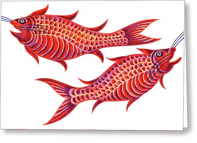 Fish Pisces Greeting Card by Jane Tattersfield