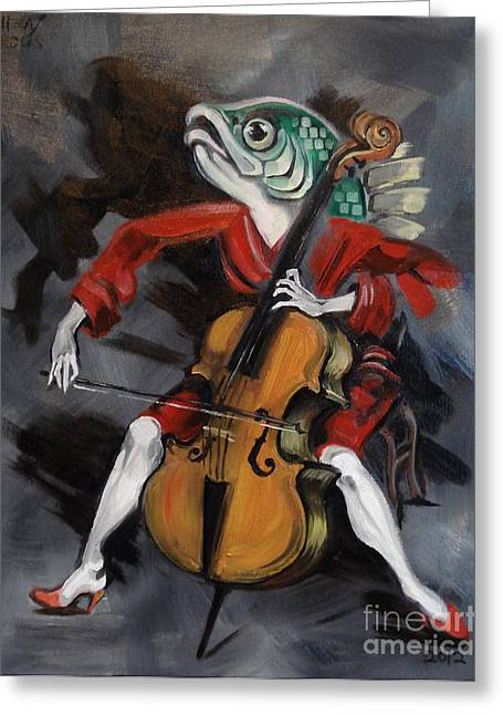 Fish Playing Cello Greeting Card by Ellen Marcus